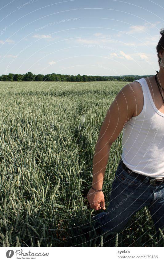 Feinripp Mensch Himmel Mann blau Hand grün Pflanze Sommer Ferne Ernährung Lebensmittel Holz Horizont Feld Haut Wachstum