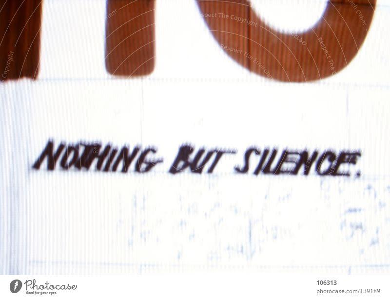 nothing but silence. ruhig Schilder & Markierungen rot weiß graphisch RGB Projekt Schriftzeichen Typographie Wand hell Hintergrundbild Setzmaschine Topografie