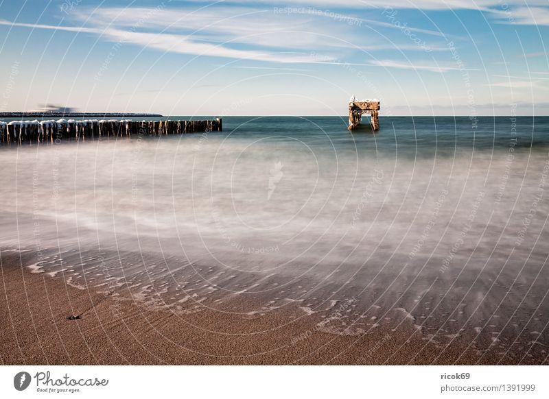Buhne und Stegreste Natur Ferien & Urlaub & Reisen Wasser Meer Landschaft Wolken Strand Winter kalt Küste Wetter Tourismus Frost Jahreszeiten Ostsee