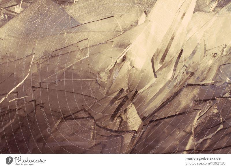 Geschnitten Eisschicht Natur Landschaft Wasser Winter Frost kalt Klima Strukturen & Formen Eiskristall gestoßenem Eis Platten aus Eis gefrorene Wellen Farbfoto