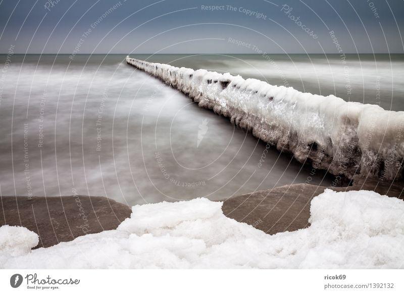 Winter an der Ostsee Ferien & Urlaub & Reisen Strand Natur Landschaft Wasser Wolken Wetter Küste Meer kalt ruhig Tourismus Buhne Schnee Eis Wustrow