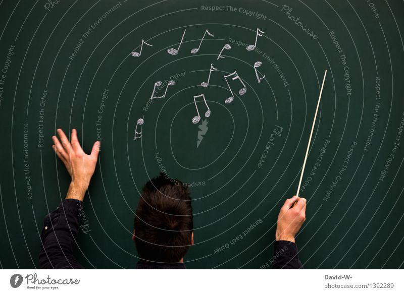 Dirigent Bildung Schule lernen Tafel Schüler Studium Handwerk Mensch maskulin Junger Mann Jugendliche Erwachsene Leben 1 Kunst Künstler Musik Konzert Musiker