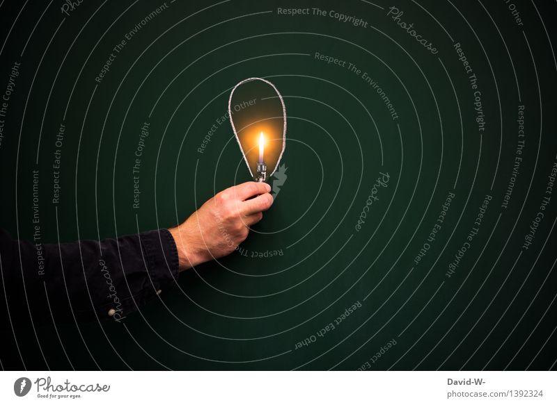 denk energetisch Mensch Mann Hand Erwachsene Umwelt Leben Kunst Schule Lampe Wohnung Energiewirtschaft Häusliches Leben leuchten elegant lernen