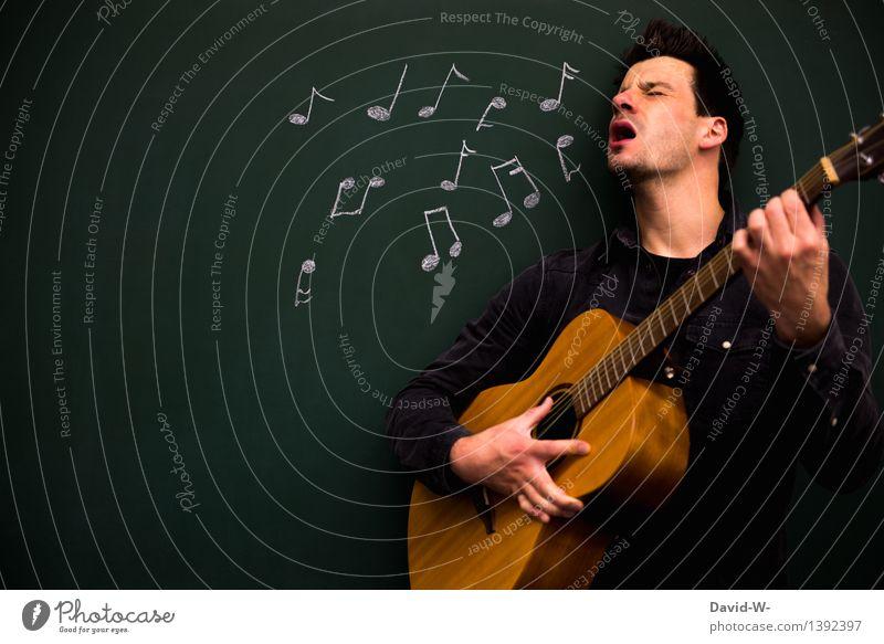 Musiker mit Leib und Seele Mensch Mann Erwachsene Leben Gefühle Spielen Feste & Feiern Schule maskulin Freizeit & Hobby authentisch Erfolg fantastisch lernen