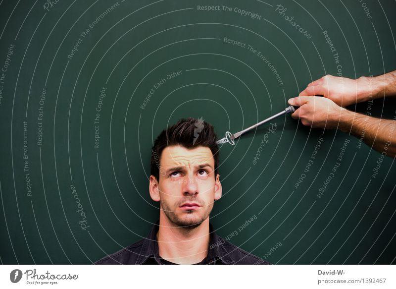 Mann hat eine Schraube locker schraubenzieher Schraubendreher Gesicht Kopf Zeichung Hilfe Psychologie