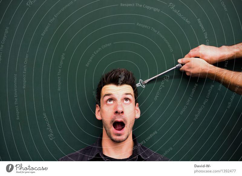 Mann dreht durch durchdrehen Schraube locker schraubenzieher Schraubendreher Gesicht Kopf Zeichung Hilfe Psychologie verrückt