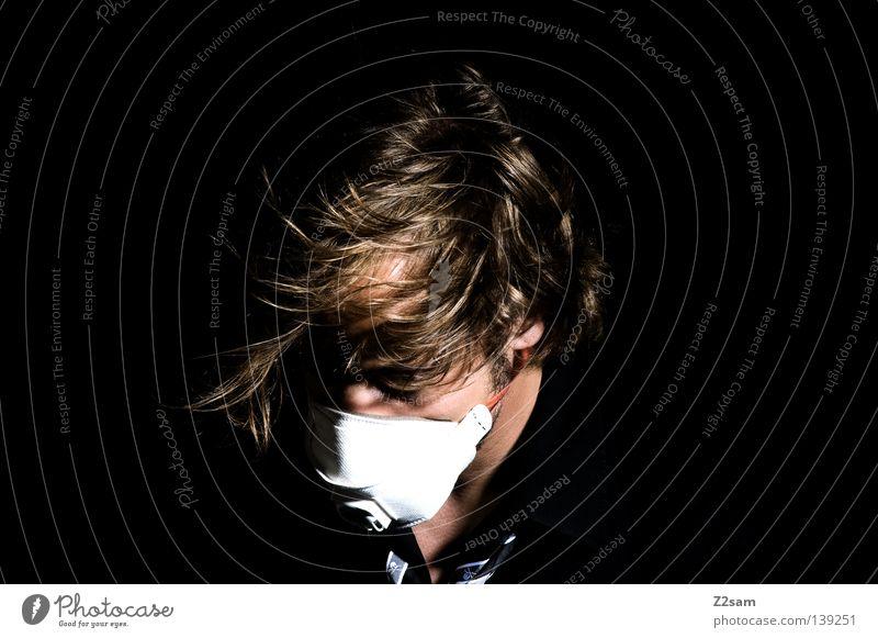 AIR Mensch Mann Gesicht schwarz Haare & Frisuren Stil Luft blond Wind glänzend maskulin Maske Sturm chaotisch Krawatte Atem