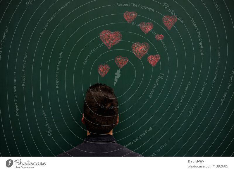 Verliebt Flirten Valentinstag Hochzeit Mensch maskulin Junger Mann Jugendliche Erwachsene Leben Kopf 1 Kunst Künstler Liebe Gefühle Sex Liebeskummer Schmerz