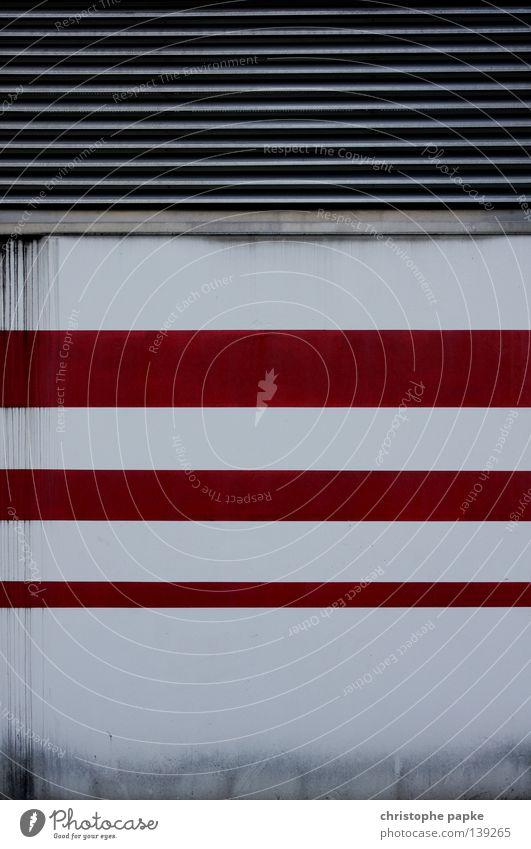 Urban Structures weiß rot Wand Architektur Hintergrundbild Linie Design Ordnung einfach Streifen streichen Geometrie obskur Symmetrie Parkhaus Schimmelpilze