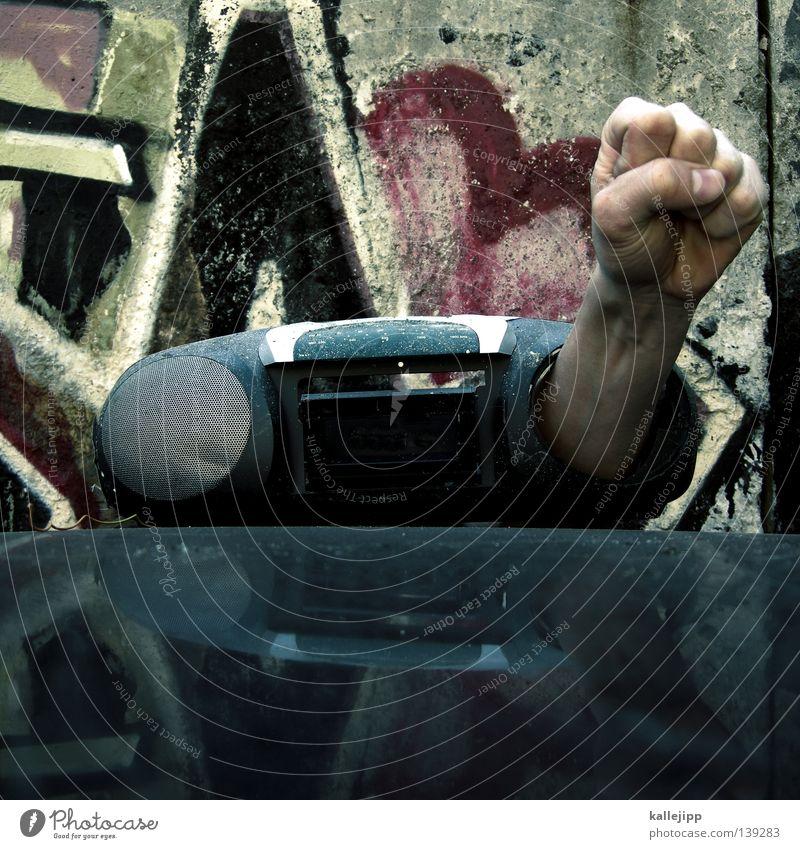 wie, wo, was, weiß...! Faust Hand Konzert Parole Mann Lautsprecher Musik Schall Gehörsinn Mitteilung Takt Sprechgesang Hiphop Kraft Gefühle Plattencover stereo