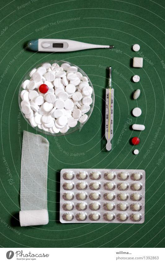 Tabletten, Medikamente, Fieberthermometer und Mullminde Gesundheit Behandlung Krankenpflege Krankheit Gesundheitswesen Verband Sucht dunkelgrün weiß Hypochonder