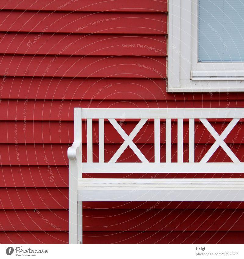 geometrisch | __ | X schön weiß rot ruhig Haus Fenster Wand Architektur Gebäude Mauer Holz außergewöhnlich Linie Idylle authentisch Lebensfreude
