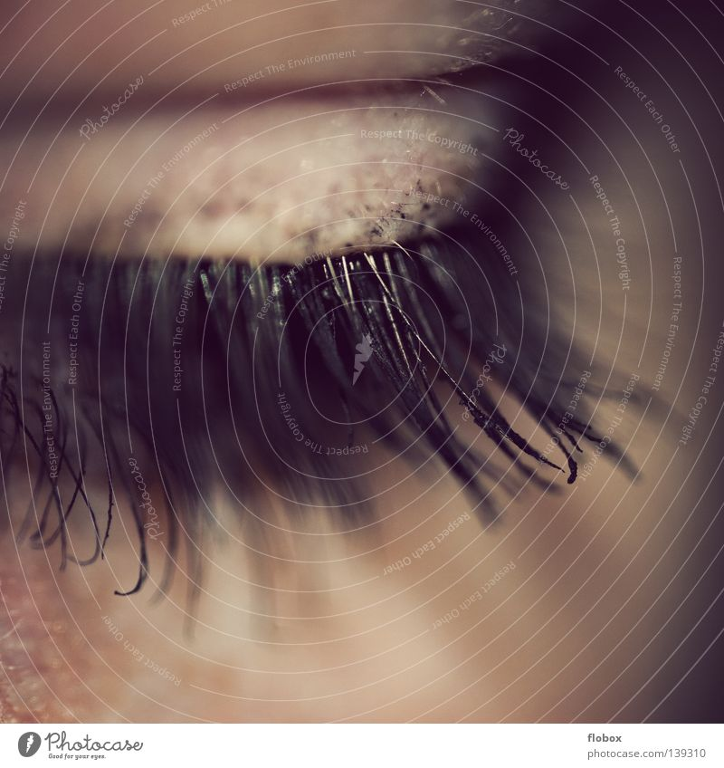 Schade... :( Mensch Frau Jugendliche schön Auge feminin Wellness Falte Kosmetik Schminke verbinden Wimpern Linse Sinnesorgane Pupille Wimperntusche