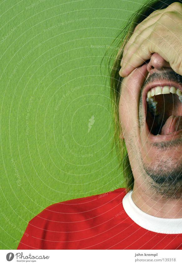 merda! Mann Hand grün rot Gesicht Angst Zähne Italien Wut schreien Schmerz Panik Ärger laut dramatisch Wahnsinn