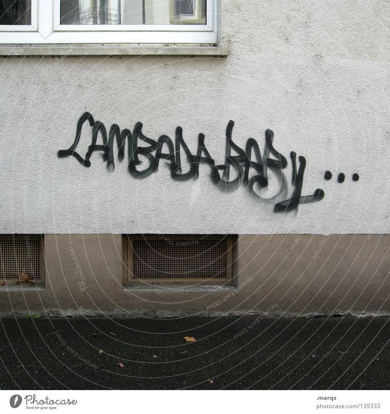 (K)ein Grund zu feiern Haus Wand Fenster Tagger gesprüht Straßenkunst Buchstaben Wort Schriftzeichen Graffiti Wandmalereien lambada Tanzen