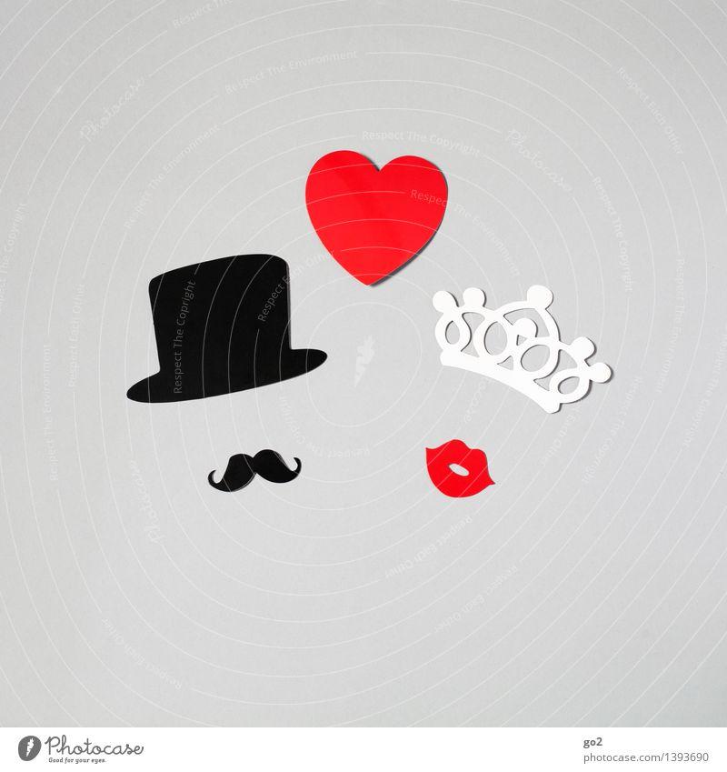 Archie & Ashley Reichtum elegant Stil Freizeit & Hobby Basteln Hochzeit maskulin feminin Frau Erwachsene Mann Paar Partner Mund Bart Hut Papier Krone Herz