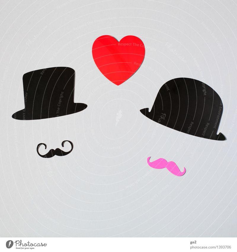 Percy & Montgomery Basteln Valentinstag Hochzeit maskulin Homosexualität Mann Erwachsene Paar Partner Bart Mode Accessoire Hut Oberlippenbart Papier Herz
