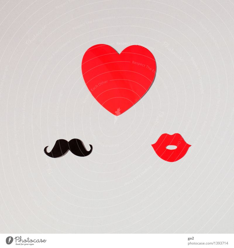 Herzenssache Basteln Valentinstag maskulin feminin Frau Erwachsene Mann Mund Lippen Oberlippenbart Papier Zeichen Küssen Klischee rot schwarz Gefühle Sympathie