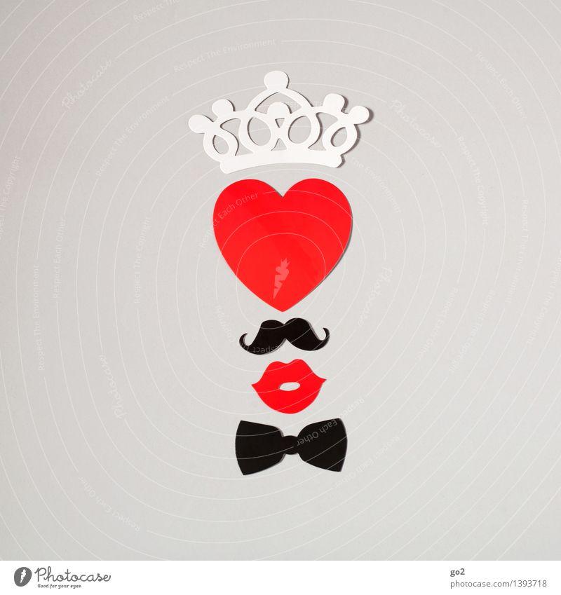 Ein Herz und eine Krone weiß rot Freude schwarz Liebe Gefühle Design Freizeit & Hobby ästhetisch Fröhlichkeit Kreativität Mund Lebensfreude Papier Zeichen