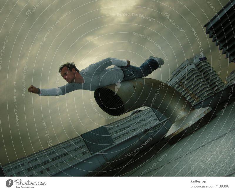 im einsatz Wärme Superman Mann Retter Rettung Plattenbau Hochhaus Stadt Lebensrettung Sanitäter Strandposten Sicherheit Comic Held Luftverkehr Flugzeug