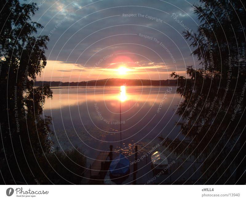 sunrise Baum Sonne Wolken Wasserfahrzeug Fluss Tanne Segeln Steg Strommast Segelboot Sport Havel Wasserspiegelung
