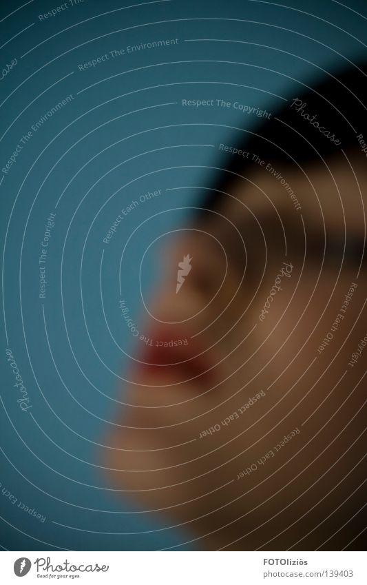 alles, so schwammig Frau rot Fenster Wege & Pfade Glas Perspektive Brille Lippen Aussicht Spiegel Konzentration anonym Identität fremd unheimlich verlieren