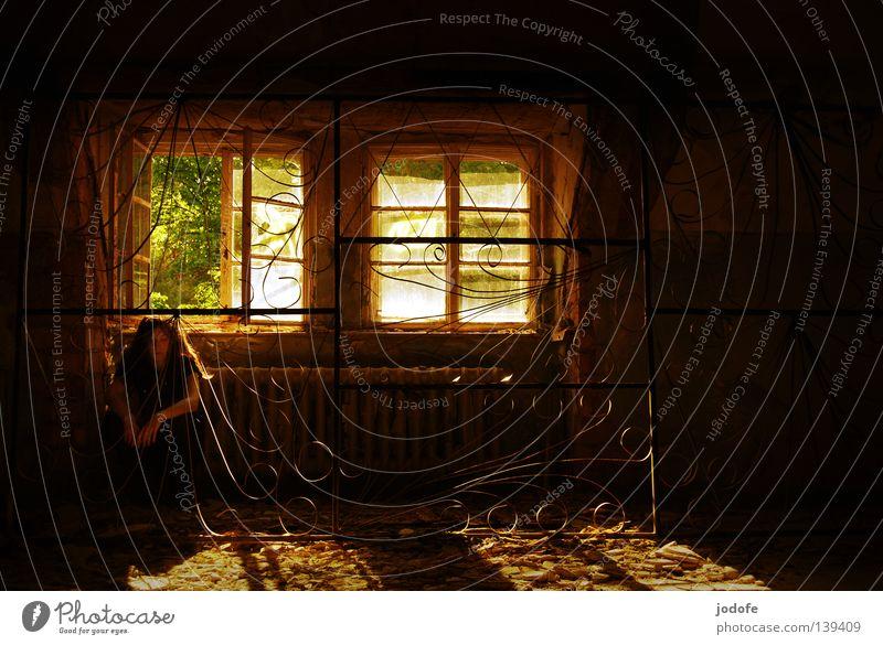 keine Tränen mehr... Fenster offen Gitter eingeschlossen Schnörkel Trennwand Gußeisen Sonnenlicht Sonnenstrahlen Sommer Physik heiß lüften Lebewesen Mensch Frau