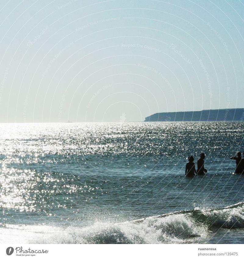 Atlántico Wellen Mensch Himmel Meer Wasser Sommer Küste sea water blue shadows sky wave shine Erholung horizon blau Schatten Lichterscheinung