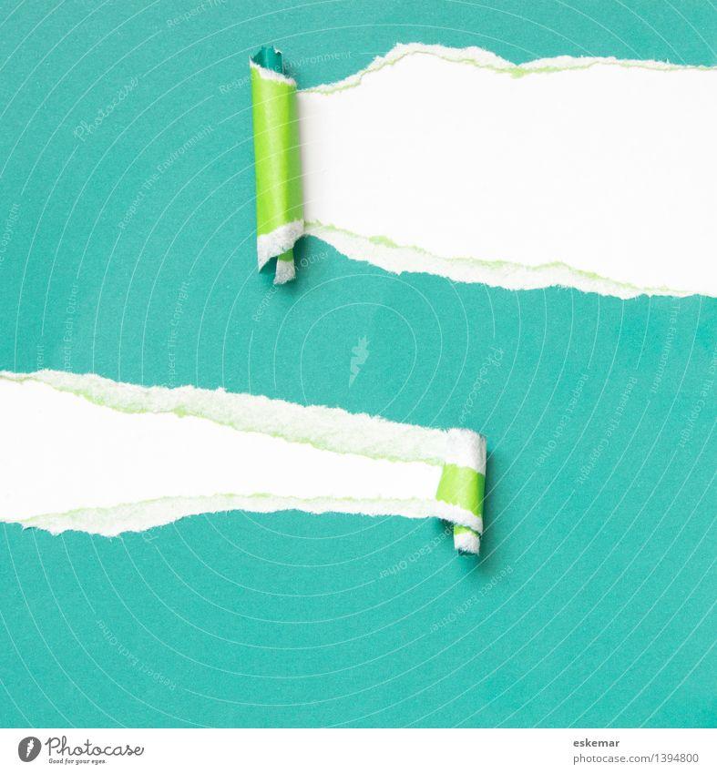Überraschung grün weiß Papier Neugier geheimnisvoll türkis Zettel Schreibwaren gerissen