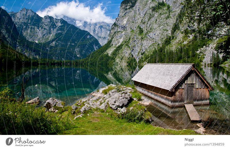 Königssee Umwelt Natur Landschaft Wasser Himmel Wolken Sonnenlicht Frühling Sommer Wetter Schönes Wetter Gras Alpen Berge u. Gebirge Watzmann Gipfel