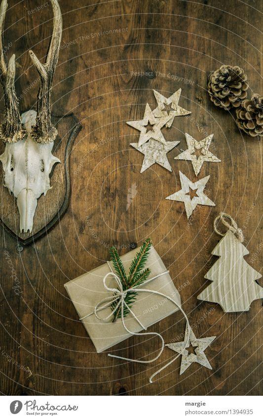 Frohe Weihnachten! Ein Geschenk, fünf  Sterne ein Weihnachtsbaum - Anhänger, Zwei Tannenzapfen und ein Geweih hängen an einer Holzwand Jagd Häusliches Leben