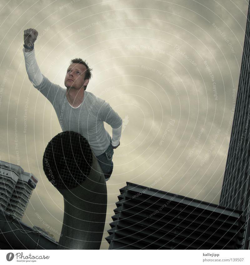 münchhausen Wärme Superman Mann Retter Rettung Plattenbau Hochhaus Stadt Lebensrettung Sanitäter Strandposten Sicherheit Comic Held Luftverkehr Flugzeug
