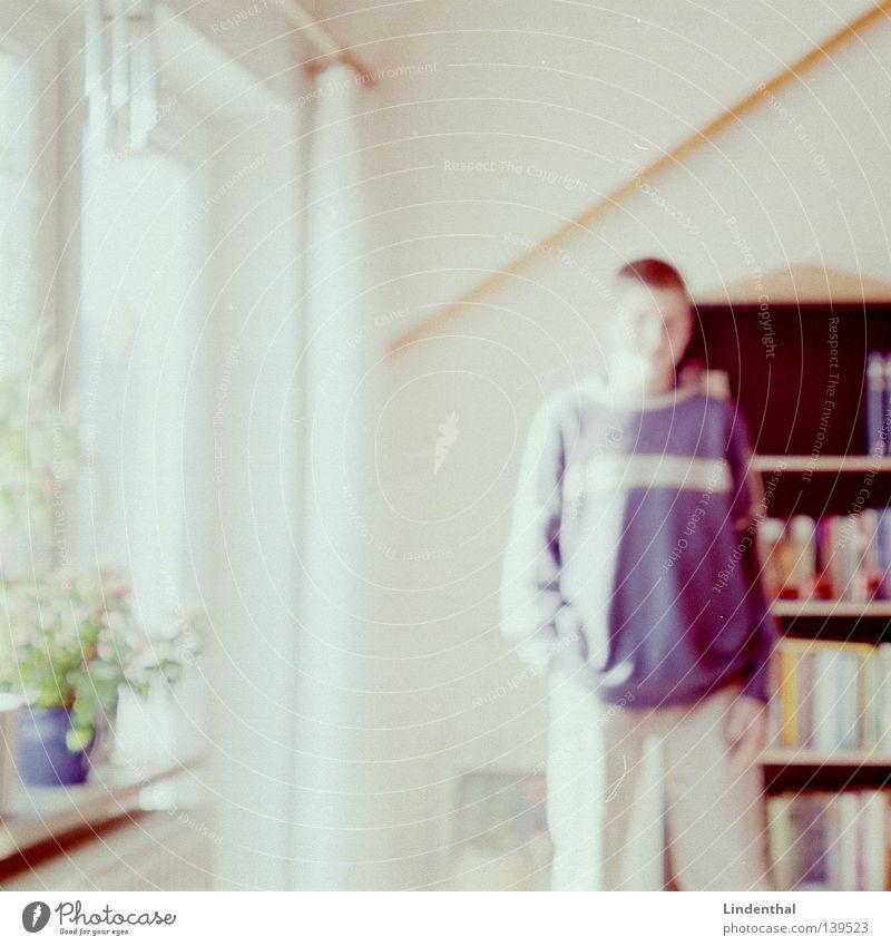 Homeboy alt Jugendliche Sonne Blume Linie hell Wohnung stehen Vorhang Gardine lässig Krimineller Regal Dia Scan Bücherregal