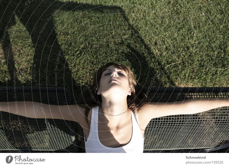 Sommerschlaf Frau Hand grün schön Gesicht Erholung Wiese Haare & Frisuren Garten Park Zufriedenheit Rücken Arme schlafen Bank