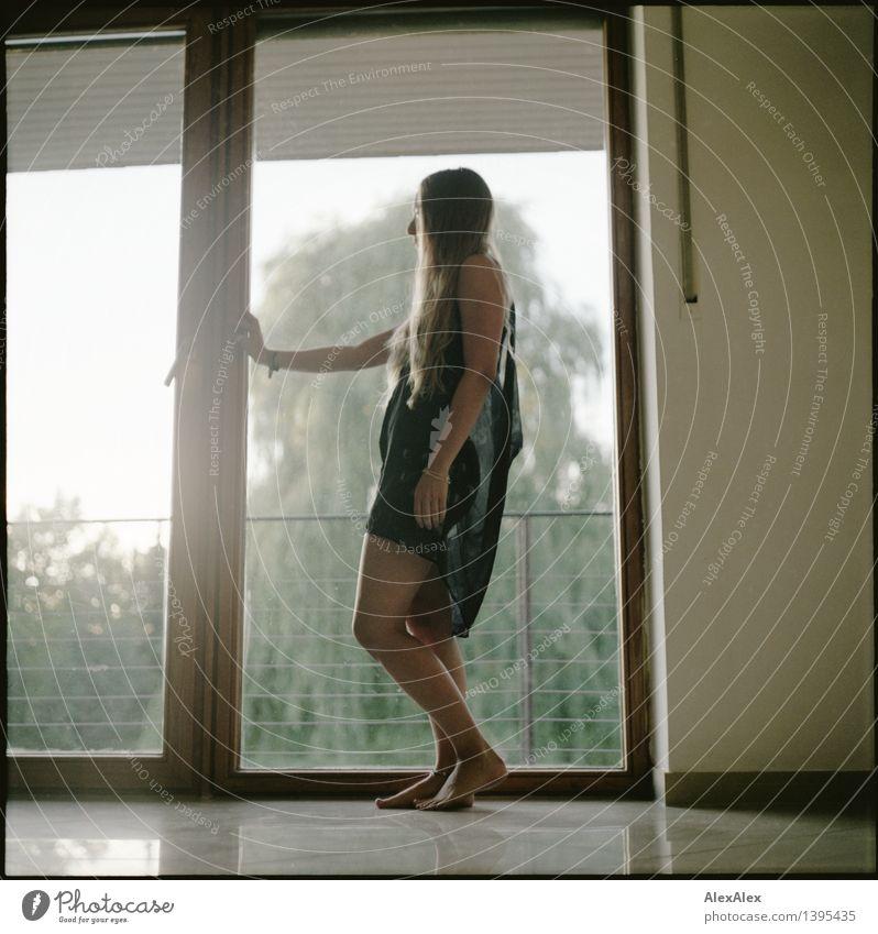 ausschnitt vom tag schön Raum Junge Frau Jugendliche Beine Fuß 18-30 Jahre Erwachsene Baum Fenster Gegenlicht Kleid Barfuß blond langhaarig beobachten stehen