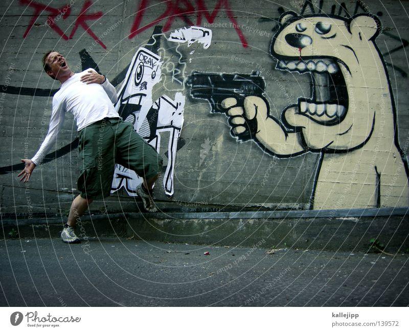 shooting töten Knall laut erschießen Krieg Pistole Mauer Beton Mann Fußgänger Überfall Kriminalität Delikt Aggression Defensive schreien Entsetzen Panik Angst
