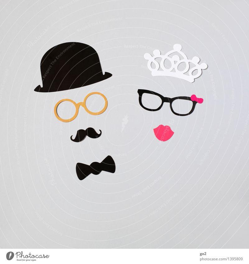 She & Him Reichtum Stil Basteln maskulin feminin Frau Erwachsene Mann Paar Partner 2 Mensch Mode Fliege Brille Krone Hut Oberlippenbart Papier Sympathie