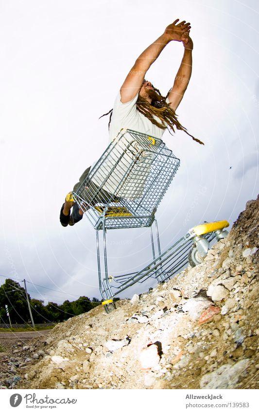 BLN 08 | Starthilfe Mann Freude Freiheit Zufriedenheit fliegen Beginn Verkehrswege Lust Flugzeuglandung Held Flugzeug Witz Einkaufswagen Superman Rastalocken Funsport