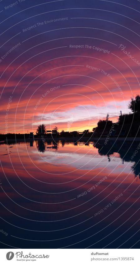Farbrausch blau Farbe Wasser Erholung Einsamkeit Landschaft ruhig Wolken kalt Umwelt Wärme Schwimmen & Baden Stimmung rosa Horizont träumen
