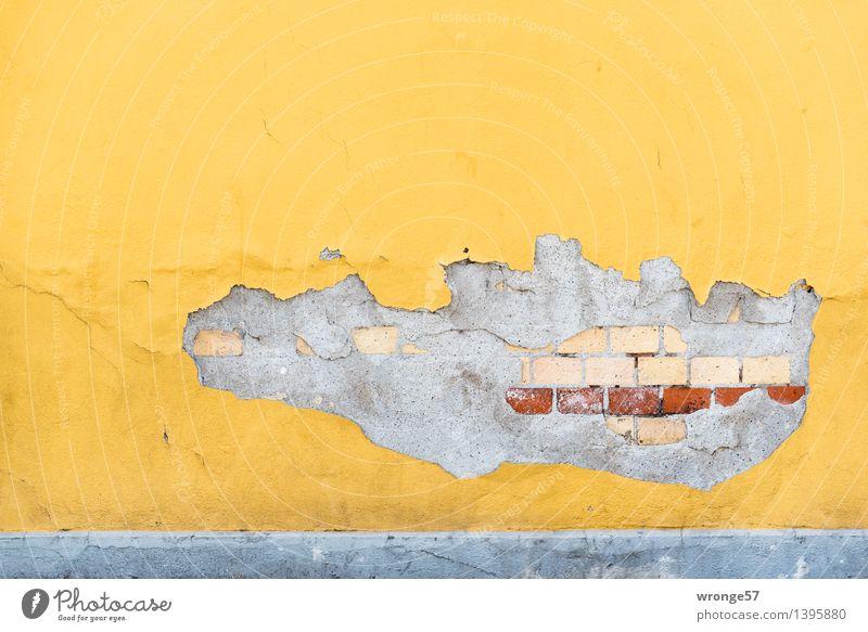 Freiraum Mauer Wand Fassade alt Stadt braun gelb grau Farbe Mauerstein Schaden abstrakt Phantasie Putz Farbfoto mehrfarbig Außenaufnahme Menschenleer