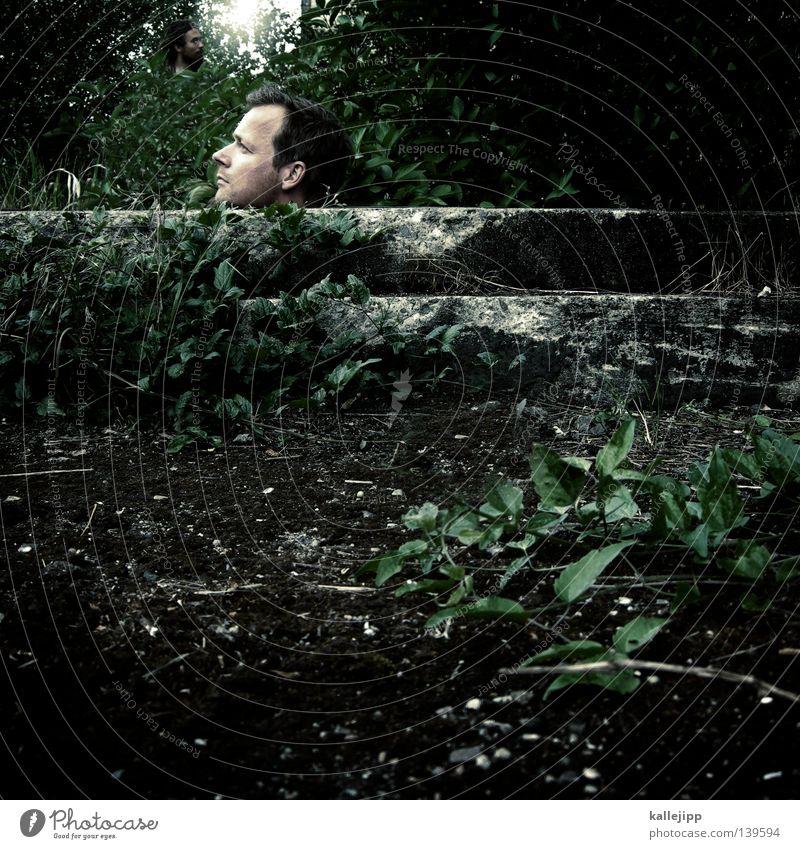 BLN 08 | userköpfe Mann Tarnung kopflos Trophäe Aussicht Pflanze Zwerg Wachstum Reifezeit Mensch mehrere Kopf head Beton Bunker Schutz schützengraben Versteck