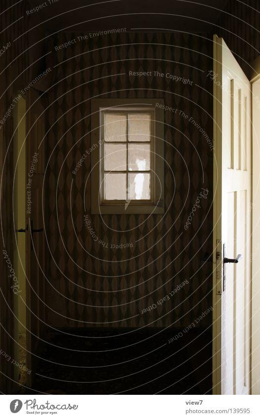 Innenraumfenster Fenster Tapete Stil ruhig vergessen Wohnung Holz Material Griff Flur Fensterscheibe Fensterrahmen Muster Wand alt Siebziger Jahre