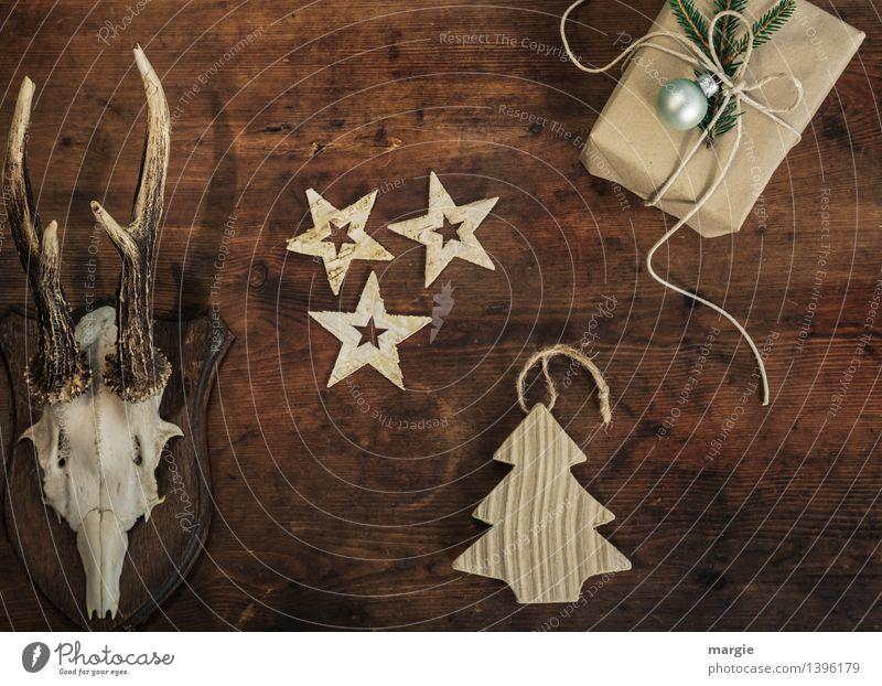Frohe Weihnachten II Freizeit & Hobby Häusliches Leben Dekoration & Verzierung Baum Tier Tiergesicht Reh Horn Hirsche 1 Stern Holz braun Weihnachtsbaum