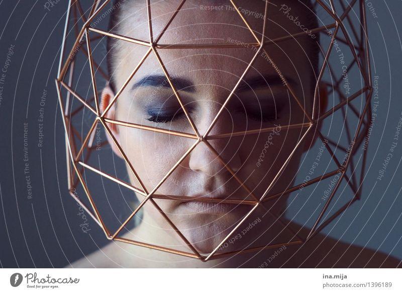 gefangen II Mensch feminin Junge Frau Jugendliche Erwachsene Leben Gesicht 1 18-30 Jahre blau Gefühle Traurigkeit Sorge Einsamkeit Erschöpfung schuldig Scham