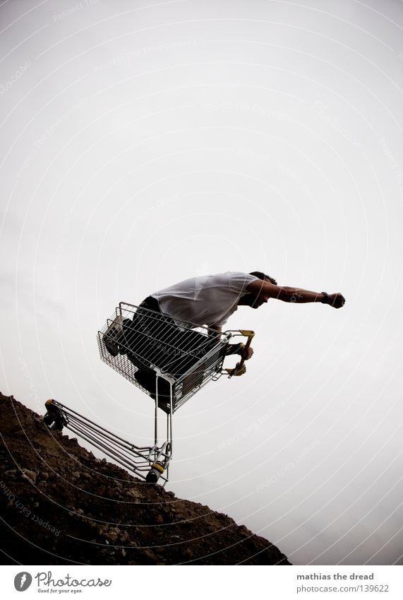 BLN 08 | SUPERMAN GOES SHOPPING Mensch Mann dunkel Arbeit & Erwerbstätigkeit Regen Wetter Zeit Horizont Perspektive stehen Ziel Gastronomie Werbung