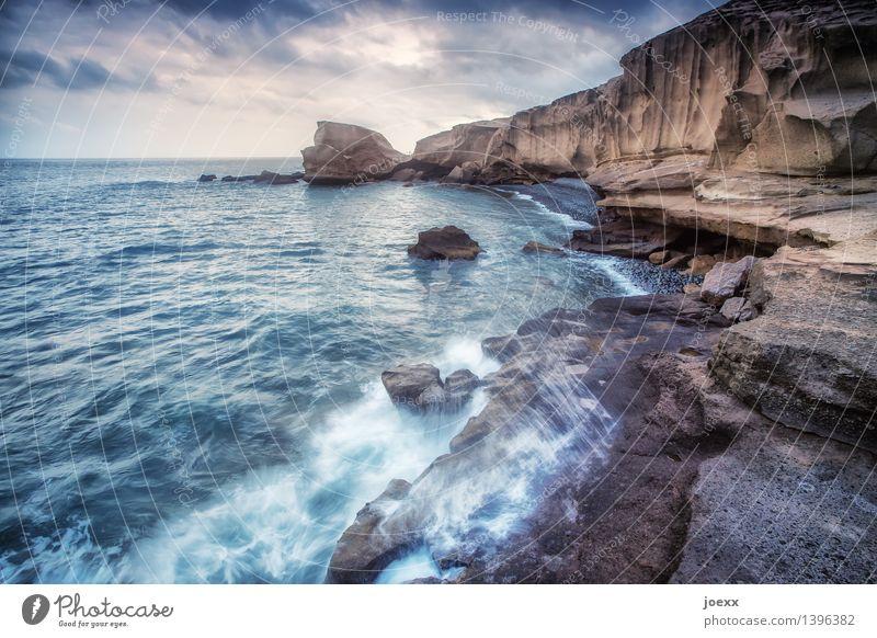 Treffen Himmel Natur blau weiß Meer Landschaft Wolken Ferne Umwelt Küste braun Felsen Horizont wild Wellen groß