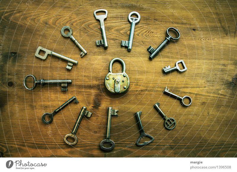 Verschlusssache schwarz gelb braun Ordnung Technik & Technologie einzigartig Schutz Sicherheit Sammlung Eingang Schloss Schlüssel Identität Verschiedenheit