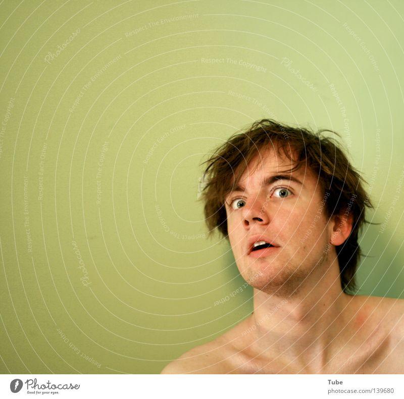 I'll kill ya Mensch Mann Jugendliche grün Auge Wand Haare & Frisuren Kopf Stil braun Hintergrundbild Angst dreckig Mund Haut nass
