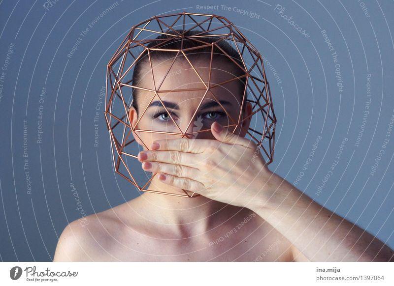 Selbstbeherrschung Mensch Frau Jugendliche Junge Frau 18-30 Jahre Gesicht Erwachsene Leben feminin Kommunizieren Schutz geheimnisvoll festhalten Vertrauen Verzweiflung gefangen