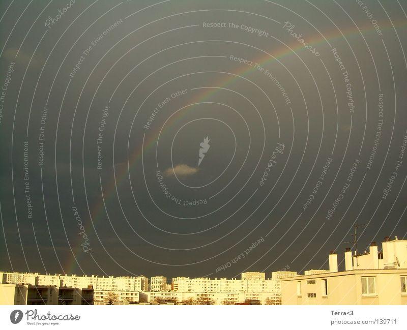 Regenbogen überm Ghetto.. Himmel Stadt Ferien & Urlaub & Reisen Wolken dunkel grau hell Beton Hochhaus Europa Aussicht Ende Sturm Skyline Frankreich